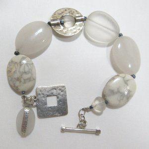 Silpada toggle bracelet B1946 white jade howlite sterling silver
